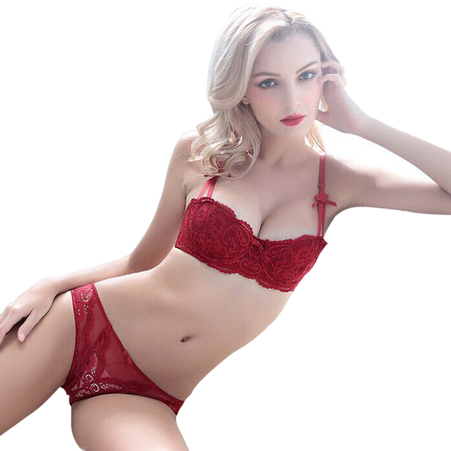 2ac2378ad0042 Women Sexy Ultra Thin Transparent Lace Embroidery Big Size 1 2 Cup Bra Set  Underwear A B C D Cup Red Lingerie. Price