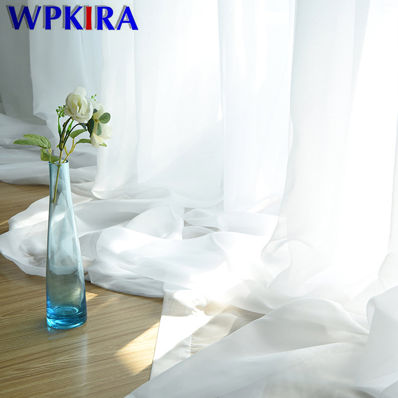 European and American Style White Window Screening Solid Door Grey Curtains Drape Panel Sheer Tulle for Living Room WP184#4-50