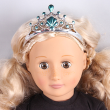 Girls Plastic Blue Crown Headband Headwear Accessories for 18 American Girl Doll Clothes And Accessories