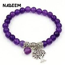 Женский и мужской браслет из фиолетового камня, бусы из бисера, молитвенные Бусины В Стиле Йоги, рейки, исцеление, медитация, древо жизни, кулон, энергия, браслет