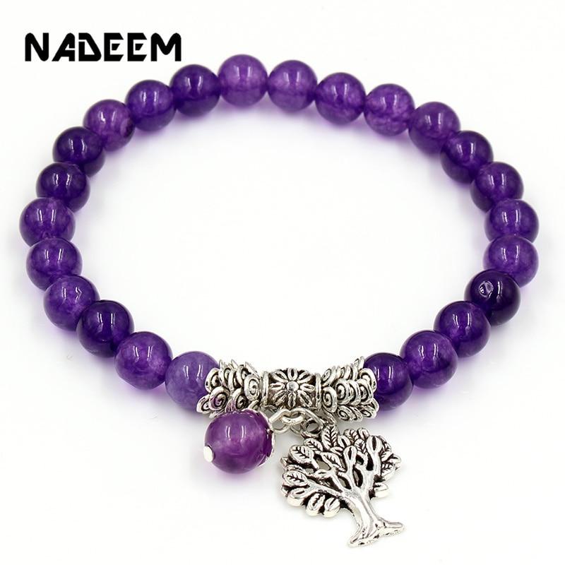 Women Mens Purple Stone Beaded Bracelets Mala Prayer Yoga Beads  Reiki Healing Meditation Tree of Life Pendant Energy BangleCharm  Bracelets