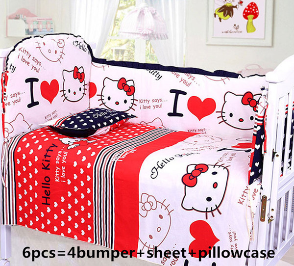 Promotion! 6PCS Cartoon Baby Bedding Set Unpick, Baby Cot Crib Set,Cotton Bed Sheet Bumpers (4bumper+sheet+pillow cover)