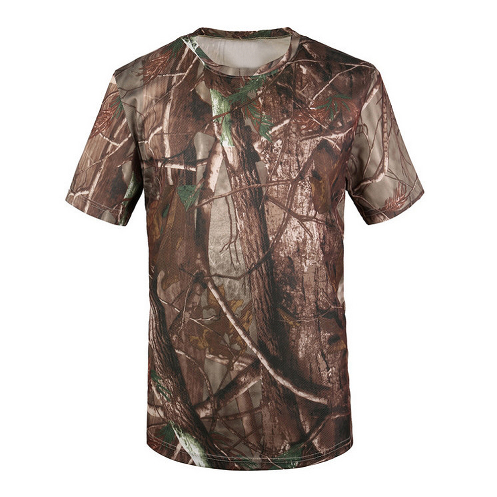 New Outdoor Hunting T-shirt Men Breathable Army Tactical Combat T Shirt Military Dry Sport Camo Camp Tees-Tree camouflage crew neck camo print tees in army green