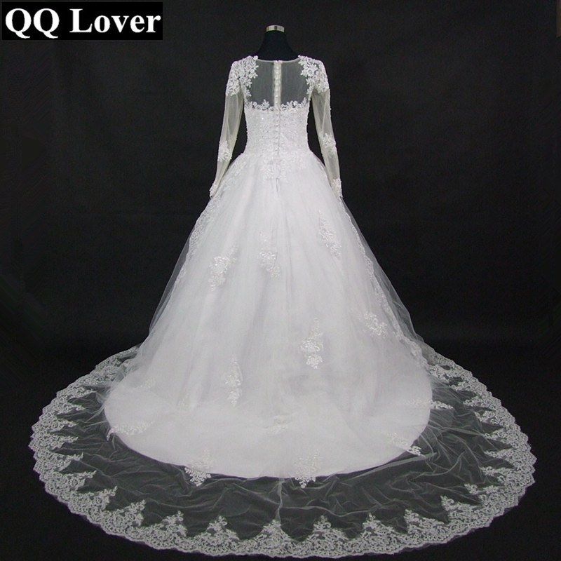 Image 3 - QQ Lover 2019 The Latest Skin Color Illusion Long Sleeves Lace Vestido De Noiva Bride Gown Custom made Plus Size Wedding Dresses-in Wedding Dresses from Weddings & Events