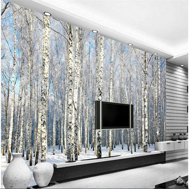 Benutzerdefinierte Jeder Größe Foto Hintergrund Tapete Winter Schnee  Birkenwald Kunst Wandverkleidung Schlafzimmer Wandbilder Moderne Tapete  Wohnkultur