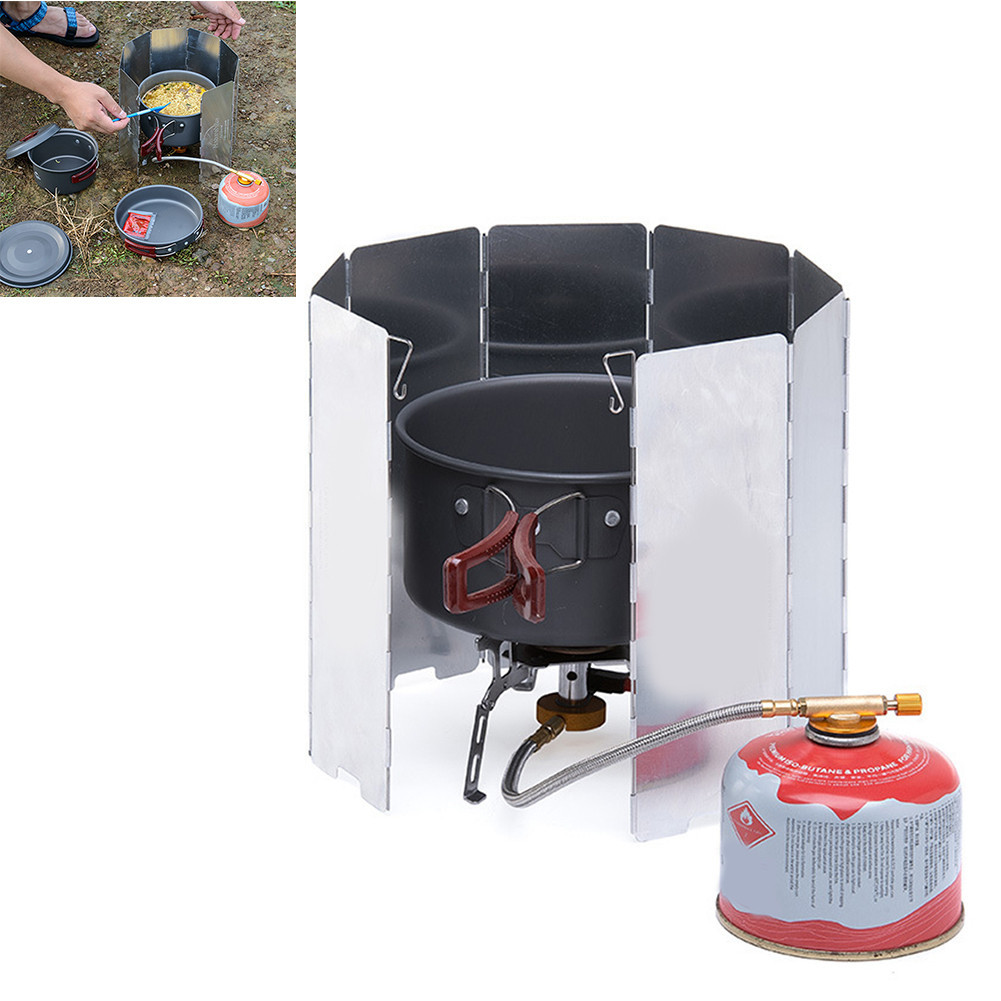 Portable 8 Plates Windproof Camping Hiking Stove Wind Shield Screen Folding Outdoor Picnic BBQ Gas Stove Windscreen