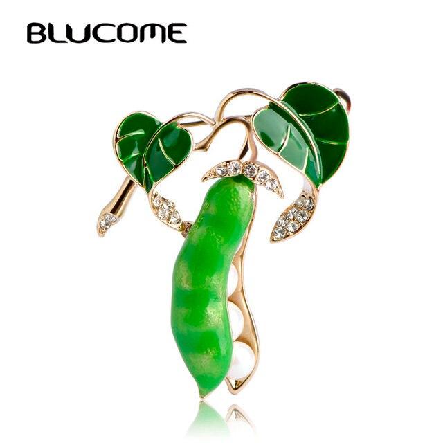 Blucome Emaille Groene Erwt Broches Voor Vrouwen Goud-kleur Crystal Gesimuleerde Parels Corsages Mannen Kinderen Trui Pak Accessoires Pins
