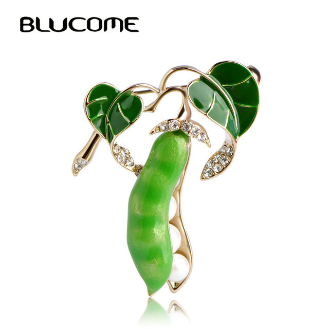 Blucome Enamel Green Pea Brooches For Women Gold-color Crystal Simulated Pearls