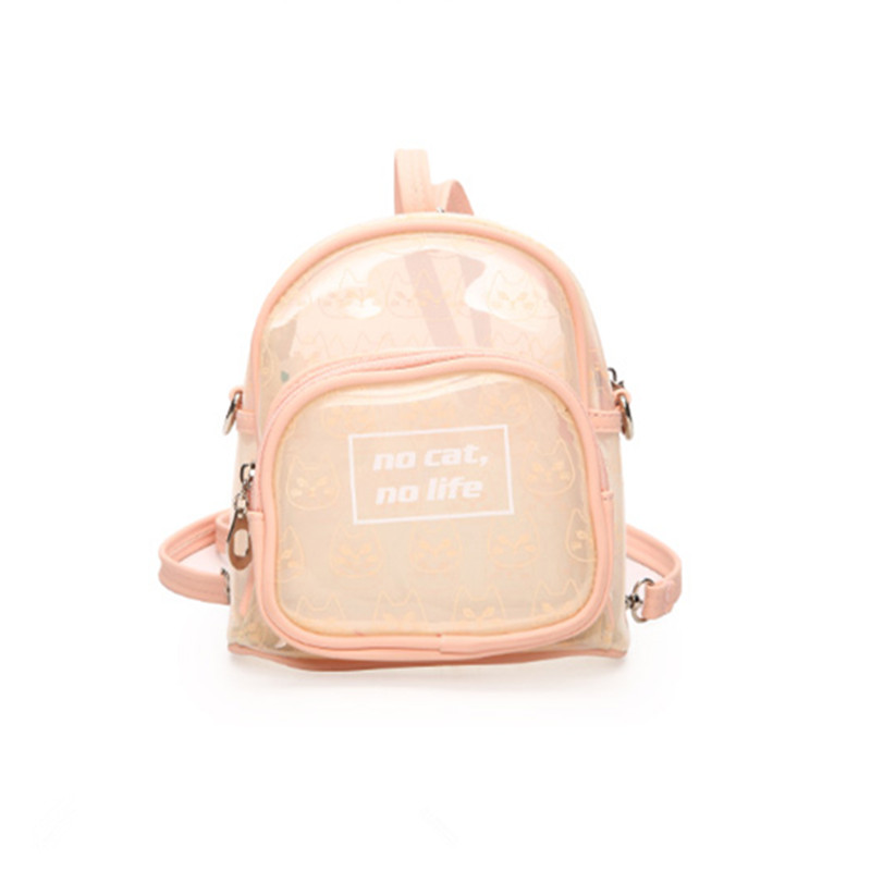 где купить  2017 New Summer Candy Transparent Cute Cat Print Backpacks Harajuku School Backpack Shoulder Bags For Teenager Girls Book Bag  по лучшей цене