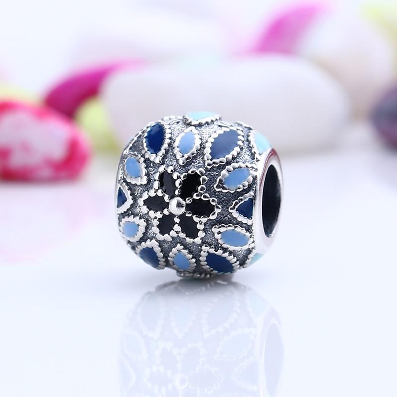 New 100% 925 Sterling Silver Fit Original Pandora Bracelet Enamel Secret Bloom Flower DIY Charms Beads for Jewelry Making Gift