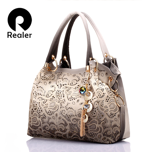 REALER brand women bag hollow out ombre handbag floral print shoulder bags  ladies pu leather tote bag red gray blue