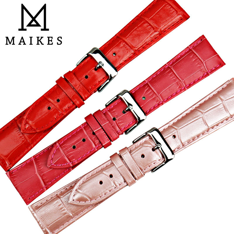 MAIKES New watch accessories genuine leather watch band 14 16 18 20 22 watch strap rose red watchbands for dw daniel wellington in Watchbands from Watches