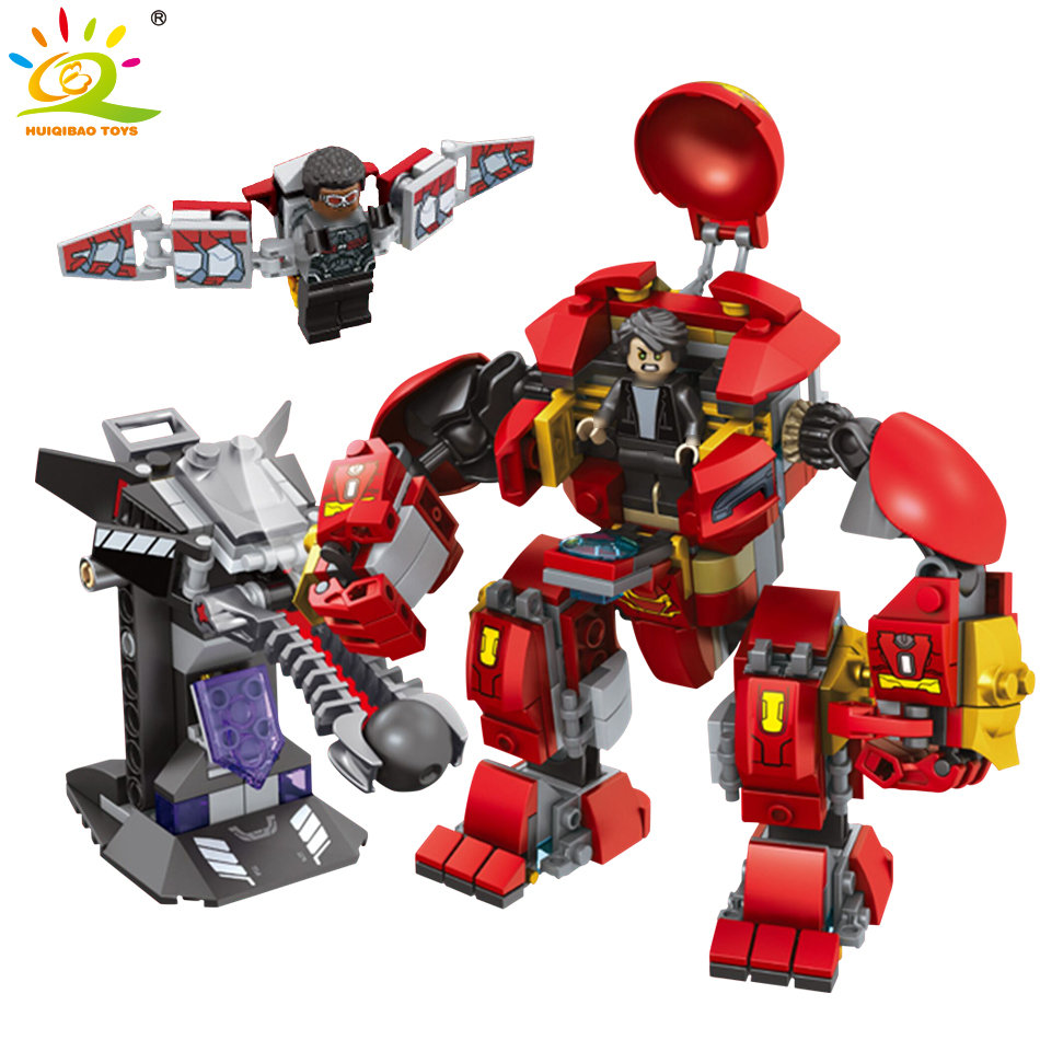 все цены на Infinity War Super Heroes The Hulkbuster Robot Building Blocks Kit Children Bricks Toys compatible legoed Marveled (420 Pieces) онлайн