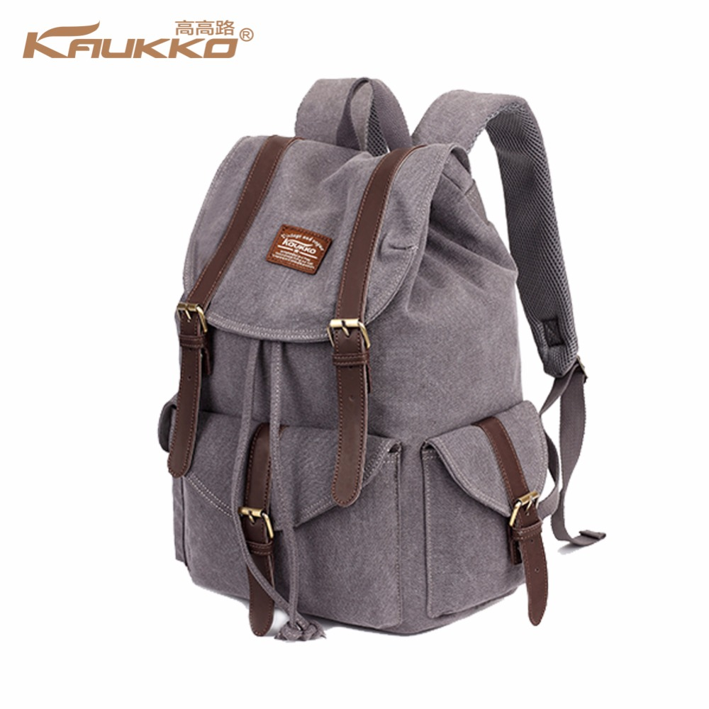KAUKKO canvas backpack vintage canvas laptop men's backpack school bag rucksack daypack