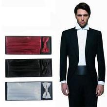 2017 men's Cummerbunds hanky pocket square solid bowtie neck tie set Sash Belts gift box ceremonial belt