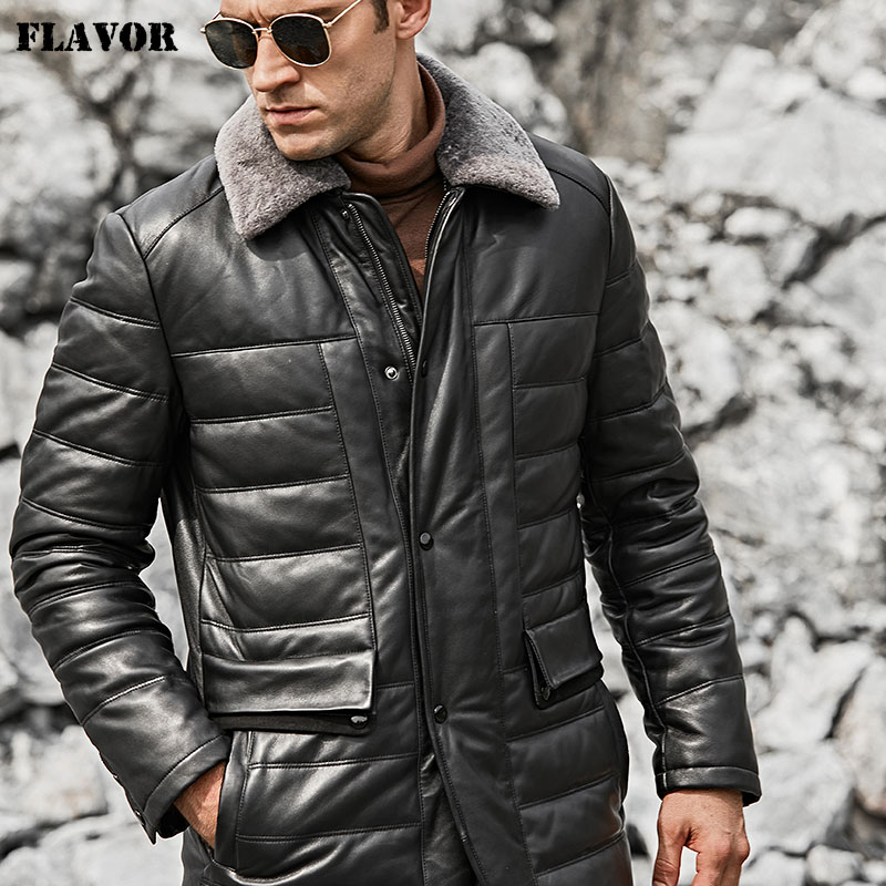 FLAVOR Men's Real Leather Down Jacket Men Lambskin Black Winter Warm Genuine Leather Jacket with Sheep Fur Collar Coat