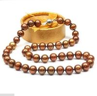 Hot selling free shipping***** charming 9 10mm south sea chocolate natural pearl princess necklace 17