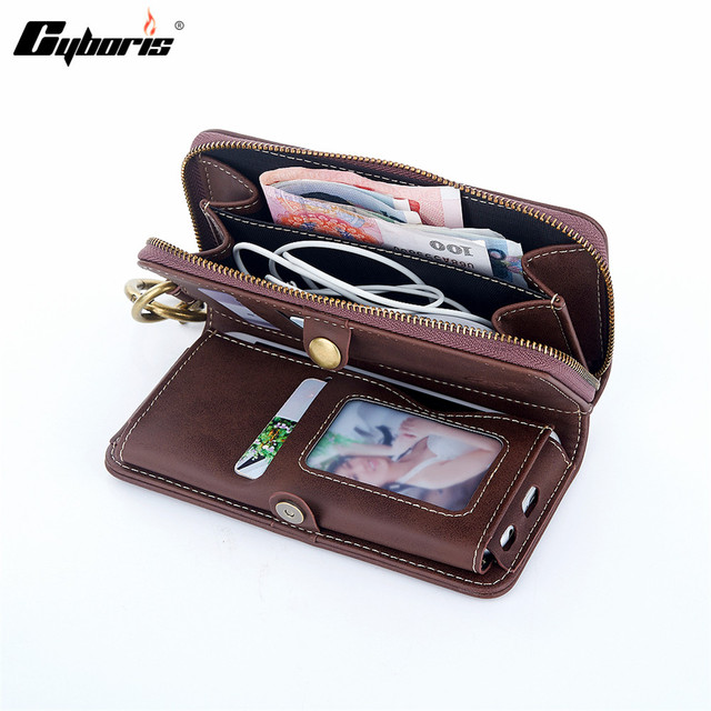 brand new a9c2d 8927c US $19.98 |Cyboris PU Leather Phone Case Men Wallet Pocket Luxury Mobile  Phone Cover Wallets Zipper Coin Purse Phone Bags For iphone 7 6-in Wallet  ...