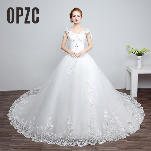 Real Photo Customized Elegant Princess Wedding Dresses 2016 Luxury Train Lace Sequin Bride Vestido De
