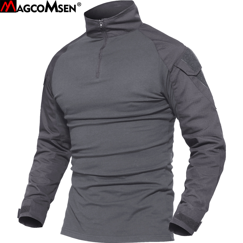 MAGCOMSEN Men Military Tactical T-shirt Long Sleeve SWAT Soldiers Combat T Shirt Airsoft Clothes Man's US Army Shirts No Pads