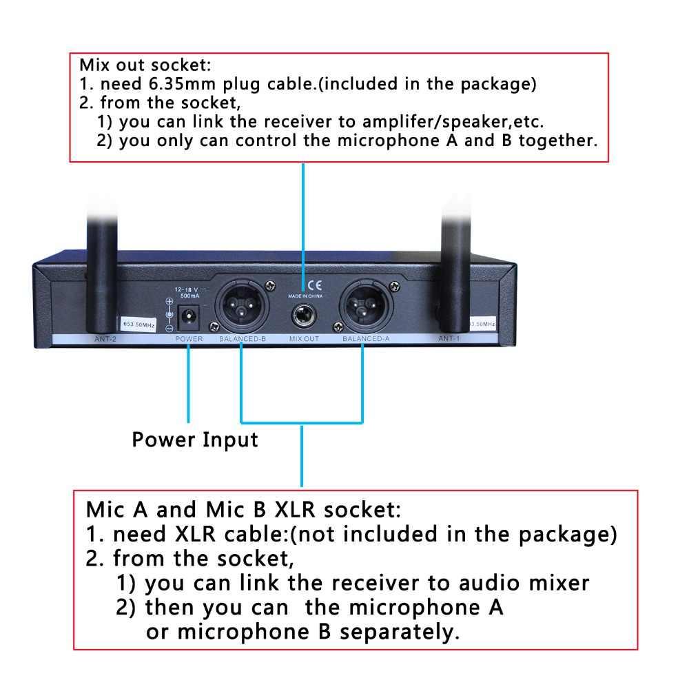 Freeboss FB-U09 двухсторонний цифровой UHF беспроводной микрофон с 2 металлическими наконечниками