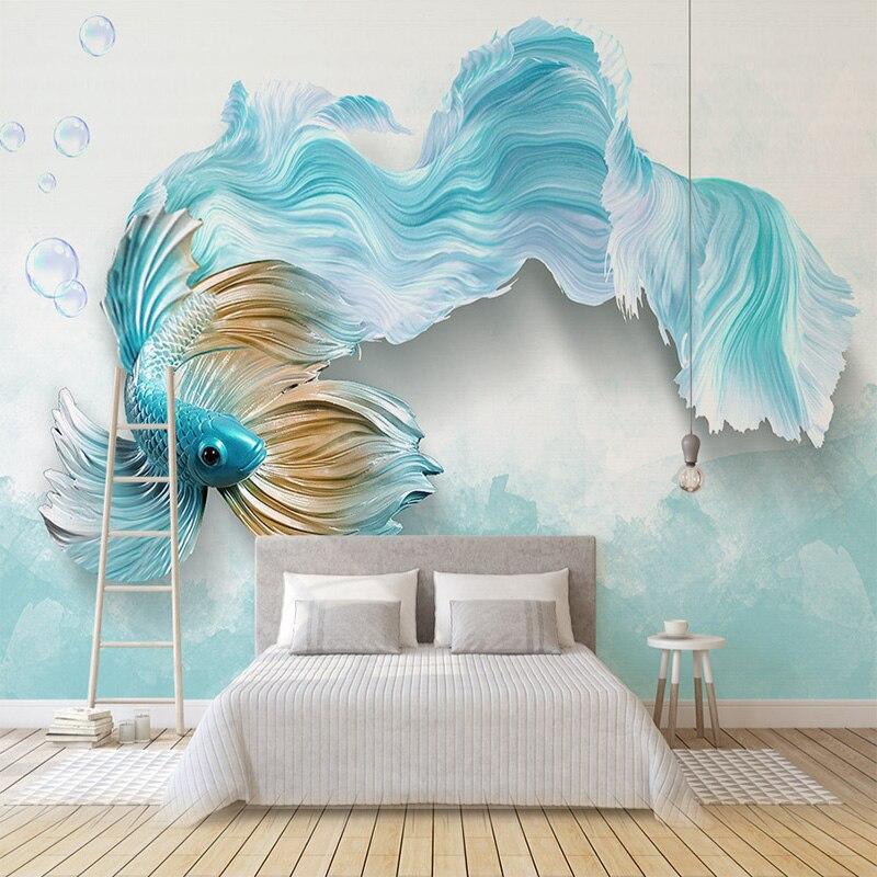 Custom 3D Mural Wallpaper Modern 3D Abstract Blue Peacock TV Background Mural Living Room Bedroom Waterproof Mural Wallpaper