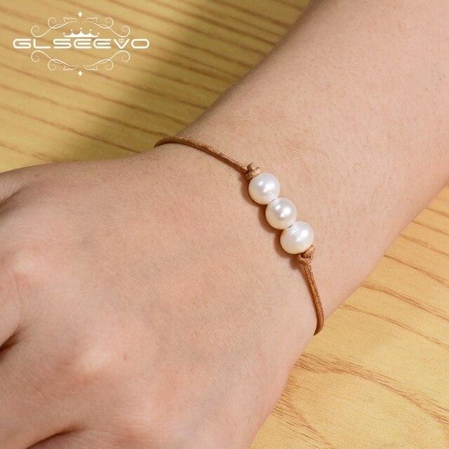 Фото glseevo настоящий жемчужный белый кожаный браслет для женщин цена
