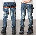 Children Kid Jeans Boys Solid Jeans Pants 2017 Spring Light Wash Boys Jeans for Boys Regular Elastic Waist Children's Jeans P249