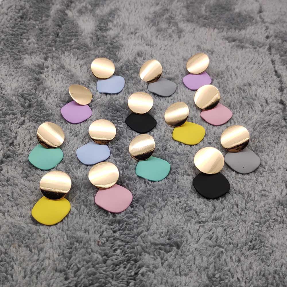 Minimalist Women's Earrings Gold Round Pendant Earrings Geometric Earrings for Women Wedding Jewelry Earrings 2019 W550-W556