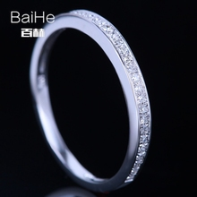 BAIHE Sterling Silver 925 0.13CT Certified H/SI3 Round 100% Genuine Natural Diamonds Engagement Women Trendy Fine Jewelry Ring