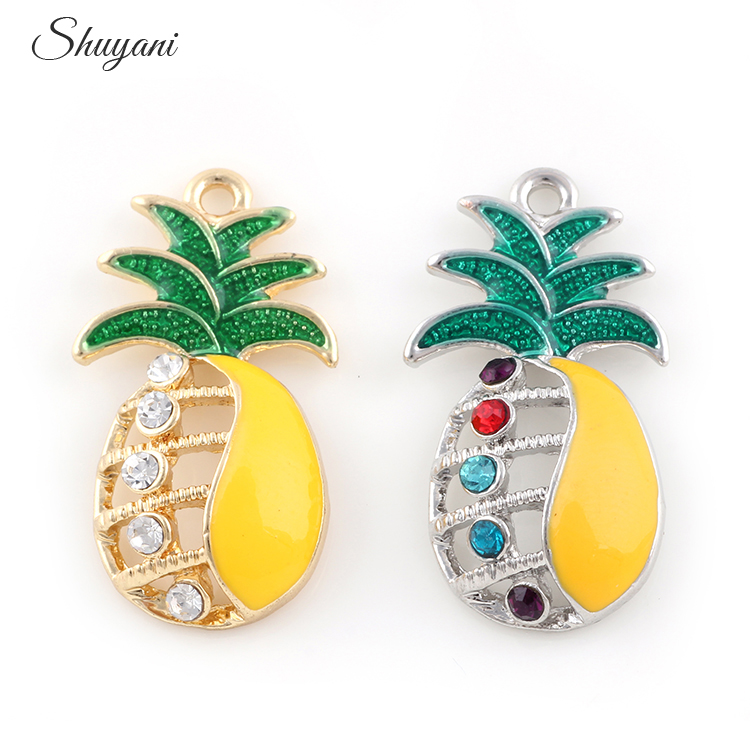 20PCS Newest Hollow Pineapple Dangle Charms Crystal Pendant Fit Handmade Bracelet Accessories