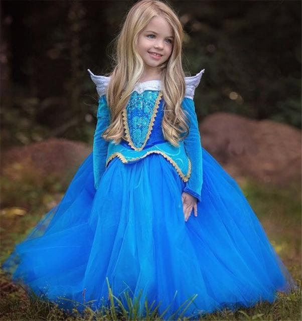 2017 Primavera Vestido Da Menina de Moda Bela Adormecida Aurora Princesa Luva Cheia para Crianças Festa de Aniversário Roupas Meninas Traje Cosplay