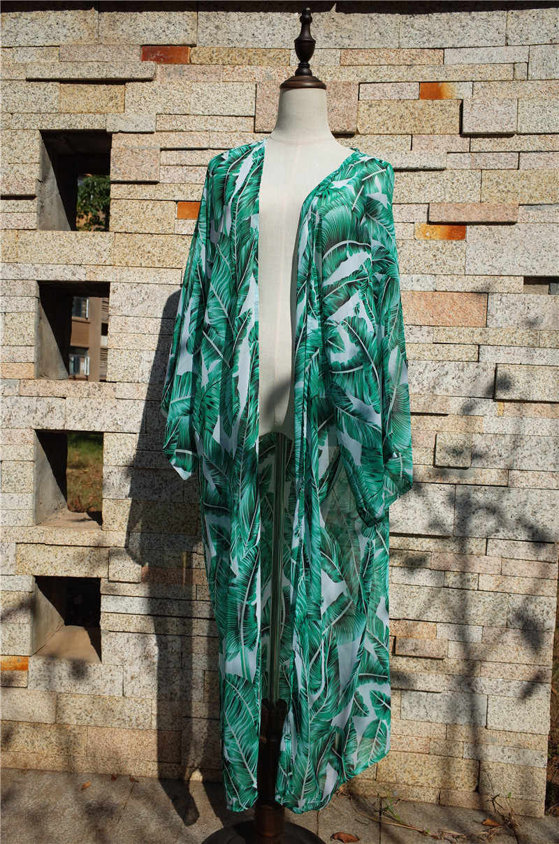 fee2e5fe93 ... Green Feathers Print Chiffon Kimono Cardigan For Women Summer Beach  Wear Swimsuit Cover Up Sarong Plage ...