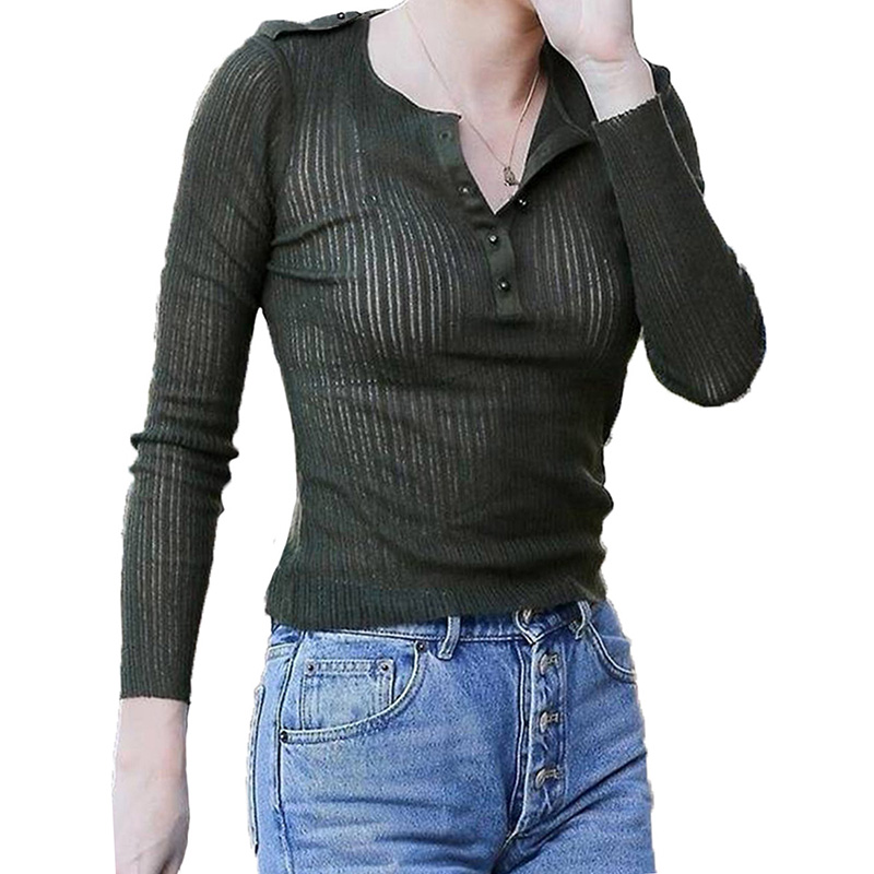 Sexy Tops T-Shirt women Henley Button Tee Slim-Fit Quick-Drying Breathable