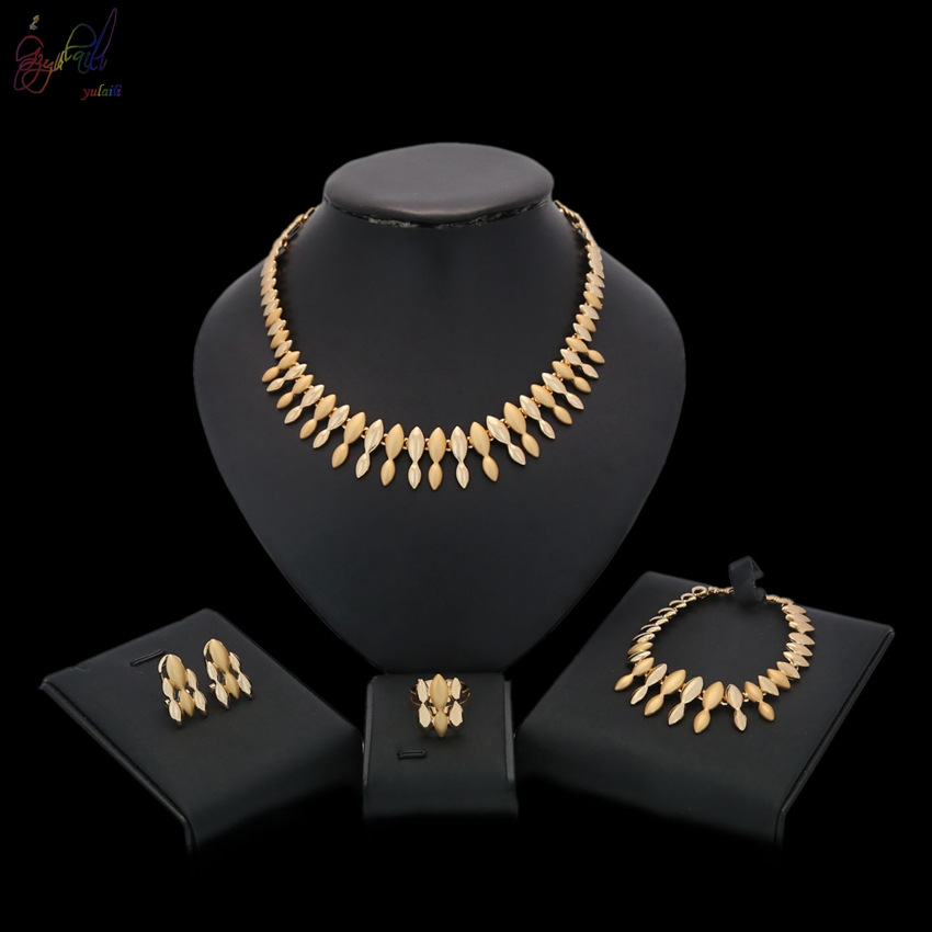 YULAILI Hot Fashion Jewelry Set Nigeria Gold Color African Bead Wedding Accessories for Ladies Wedding Party Costume