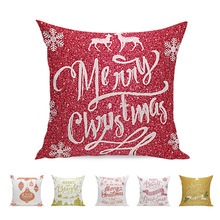 45x45cm Vintage Home Decorative Merry Christmas Cushion Cover Linen Cotton Throw Pillowcase For Sofa Car
