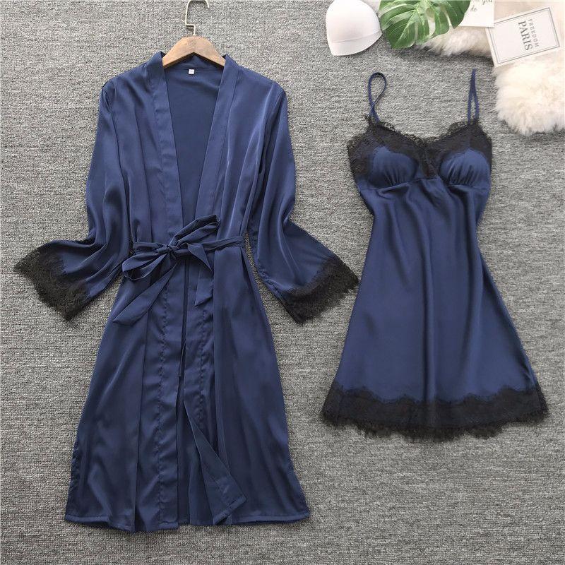 QWEEK Women Silk Robe Gown Set Summer Sexy Lace Women Sleepwear Dress Elegant Woman Pajamas Casual Bathrobe Sets
