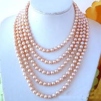 Terisa Pearljewelry 100 inches Long Pearl Necklace Pink Color Round Freshwater Pearl Necklace Cultured Pearl Jewelry