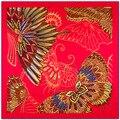 100 cm * 100 cm penas vermelhas Brilhantes e borboletas das Mulheres lenços de seda twill 2017 quentes echarpes bufanda, xales, cachecol mulheres A222