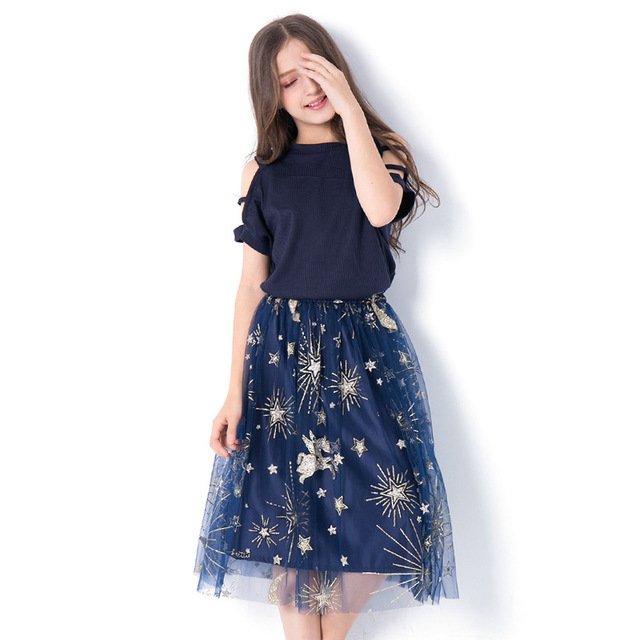 Kids Clothing Set Teen Girls Clothes Print Children Costume Summer T shirt Mesh Sequin Skirt Suit for Girls Outfits 12 14 Year