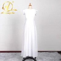 Proste White Flower Girl Dresses Z Sashes V Neck Dziewczyny Pageant Suknie Flowergirl Suknie Custom Made