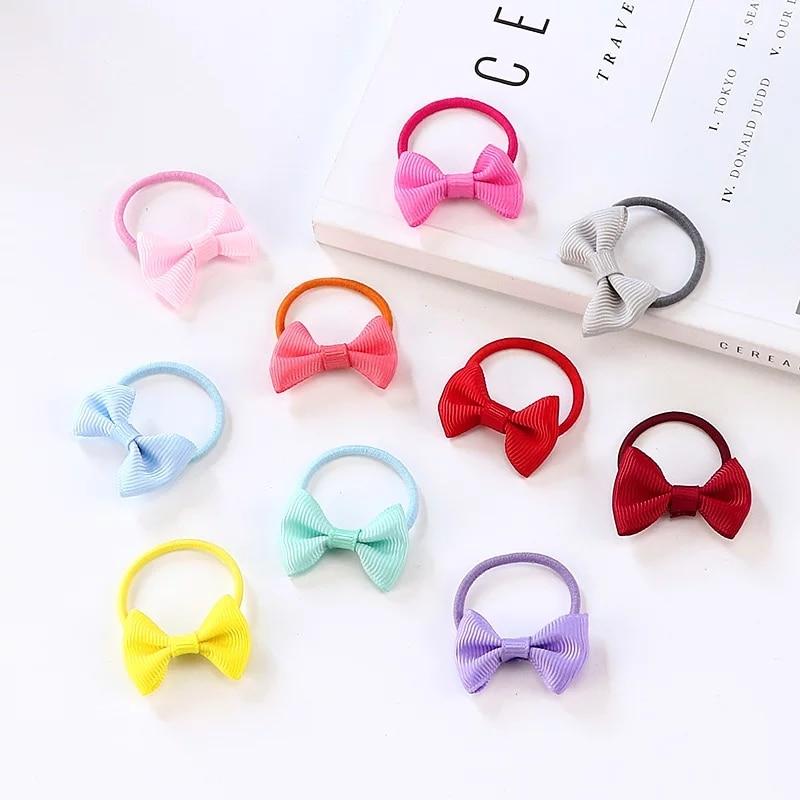 10 Pcs (5 Pairs) Cute Mini Small Bow Hair ties Girls  Elastic Ponytail  Holder Kids Hair Accessories PT007A-in Hair Accessories from Mother   Kids  on ... df0110c6ef1