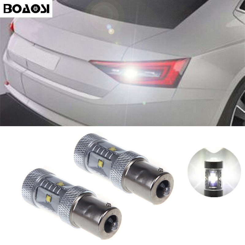 BOAOSI 2x White 30W P21W BA15s 1156 LED Backup Reversing Light For VW jetta Passat B1 B2 B4 B3 B5 B6 Skoda BMW volvo