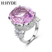 H:HYDE Pink Stone White Gold Color Wedding Rings For Women Engagement Big AAA Zircon Jewelry Ring Fashion Bague