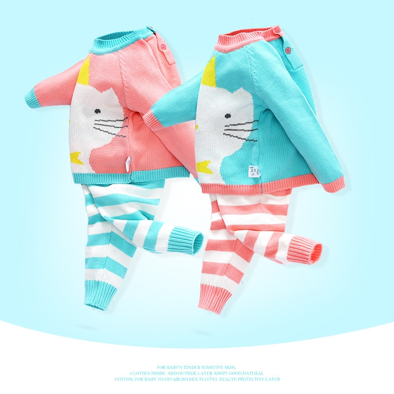 baby boy girl clothing sets 2pcs cartoon cat pullover outerwear sweater+long pants infant baby suits new arrival autumn autumn new cartoon elephant printed long sleeve children sweater boy girl pullover top shirts sweatshirt clothing