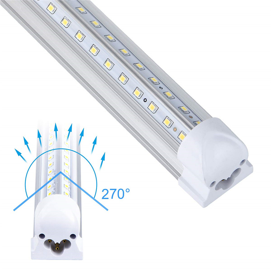 T8 LED Bulb Tube Light 2FT 20W 2000lm White Clear Milky Cover Dual V-Shape Integrated Single Fixture Tube Light Ceiling Light