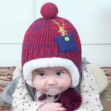 8784443aa53ca De noël Cerf Bébé Chapeau D hiver Pompon Bonnet Tricoté Épais Polaire  Filles Garçons Hat Beanie Mode Enfants Skullies Chapeau De.