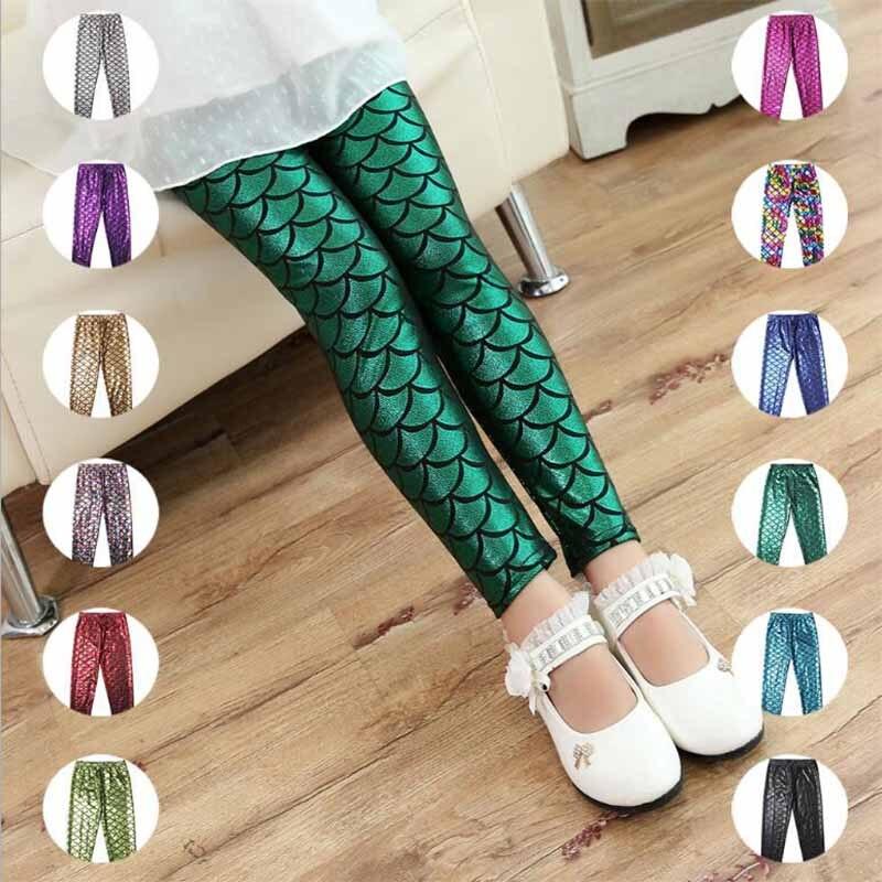 Children, Pants, Printing, Leggings, Colorful, Mermaid
