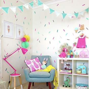 Pegatinas decorativas de aspersores, pegatina de pared de habitación para niña bebé para habitación de niños, decoración festiva, habitación fiesta, pegatinas para niños JJ004
