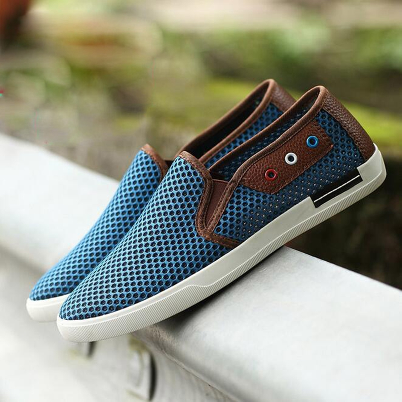 New Nice Summer Men Shoes Casual Male Footwear For Men Mesh Hole Breathable Flat Men Fashion